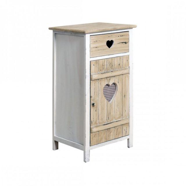 mobili rebecca meuble dappoint commode 1 tiroir 1 porte love bois clair rustique