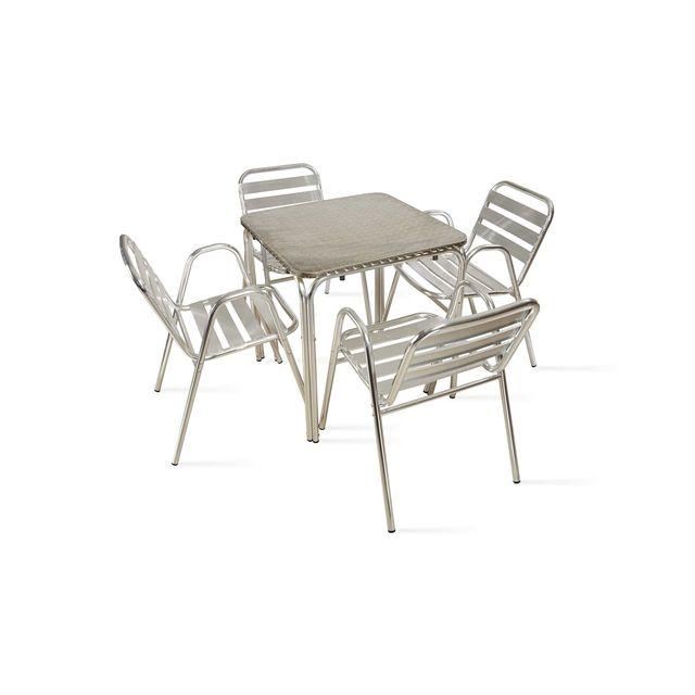 OVIALA - Table de jardin carrée en aluminium 4 places - pas cher ...