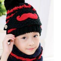 32d88eab04d Wewoo - Bonnet noir Hiver Barbe Motif Masque Visage Protection + Écharpe +  Bonnets