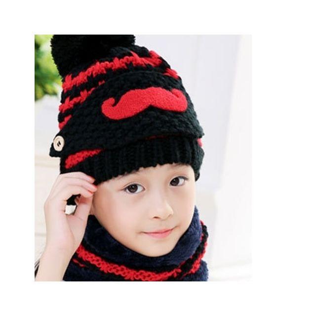 Wewoo - Bonnet noir Hiver Barbe Motif Masque Visage Protection + Écharpe +  Bonnets, Épais 2b700add2af