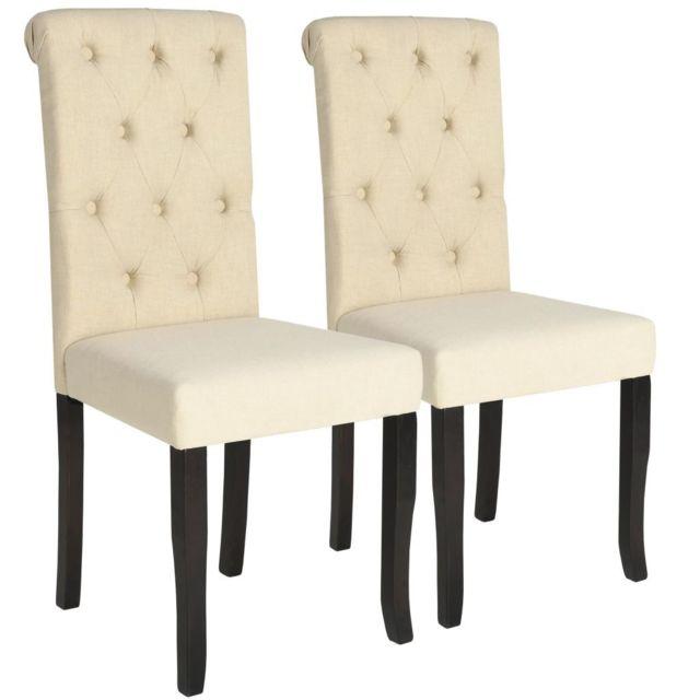 Contemporain Fauteuils ligne Santiago Chaise de salle à manger 2 pcs Bois massif Couleur crème