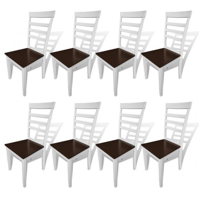 Casasmart Set de 8 chaises en bois marron blanc
