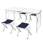 Rocambolesk - Superbe Table pliante de camping hauteur ajustable avec 4 tabourets Neuf