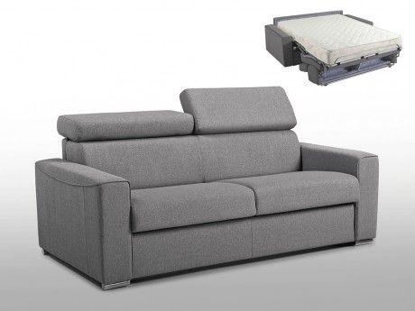 LINEA SOFA Canapé 3 places convertible express en tissu VIZIR - Gris - Couchage 140 cm - Matelas 18cm