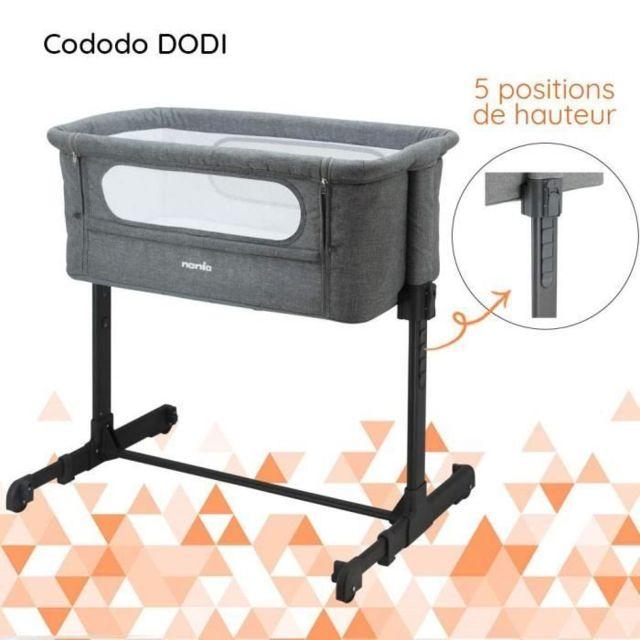 Icaverne LIT BEBE Lit Cododo gris réglable 5 hauteurs possibles - matelas 4 cm