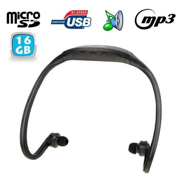 Yonis - Casque Mp3 sport sans fil lecteur audio Micro Sd Running vélo Noir 16Go