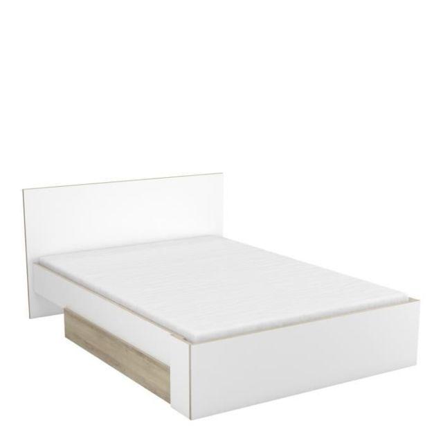 Chambre A Coucher Complete Titan Ensemble Lit 140x190 200 Cm Environnement Tiroir De Lit Decor Chene Et Blanc