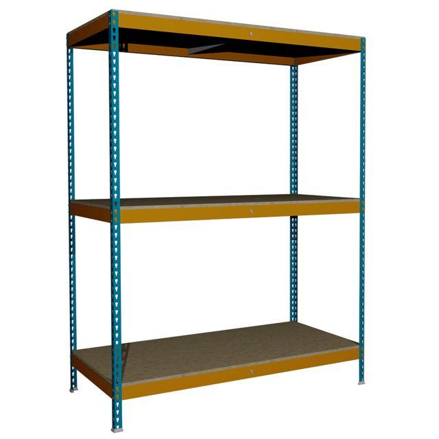 Jomasi Étagère métallique modulaire. Modèle J600. Dim : H 2000 x L 1500 x P 750. 3 Niveaux. Bleu/Orange. Livré démonté