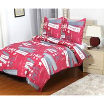 La Clef Des Marques - Housse de couette 3 pièces Star rouge pour lit 2 personnes