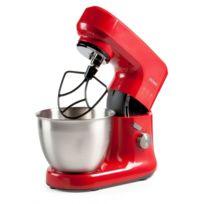 Domo - Robot de cuisine design rouge - Mouvement planétaire - Bol inox brossé 4,5 Litres
