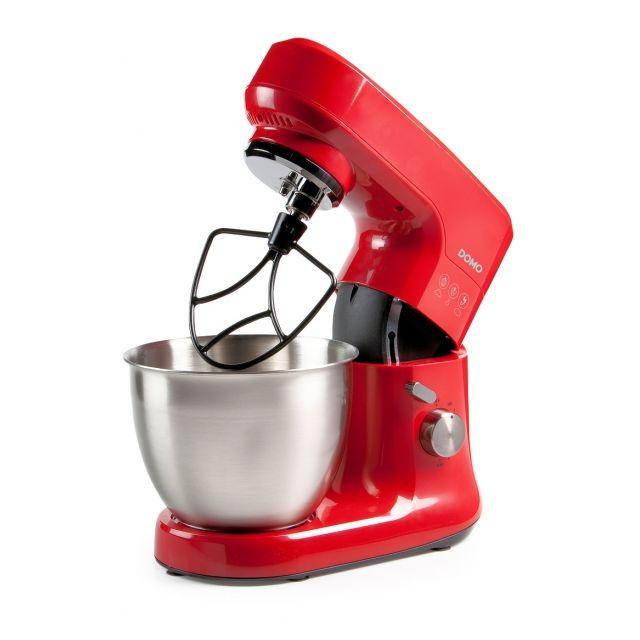 Domo Robot de cuisine design rouge - Mouvement planétaire - Bol inox brossé 4,5 Litres