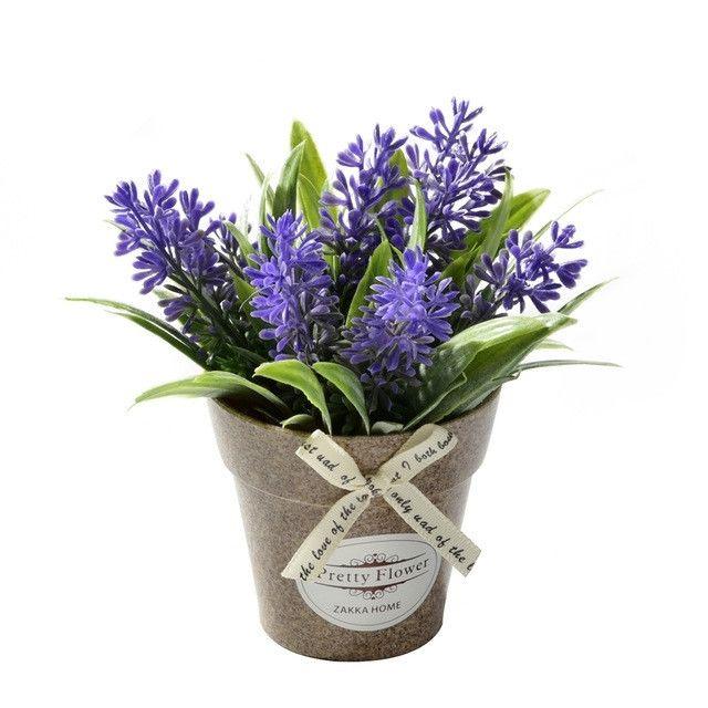 Wewoo Fleurs Artificielles 2 Pcs Faux Herbe de avec des en Pot Plastique Pour la Décoration de Ferme de Jardin Rustique Violet