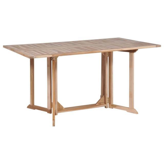 Table De Salle A Manger Pliante Teck Massif 150 X 90 X 75 Cm