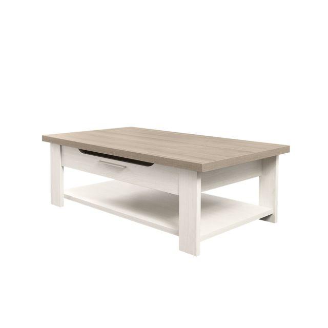 Calicosy Table basse bois clair avec tiroir - fabrication française