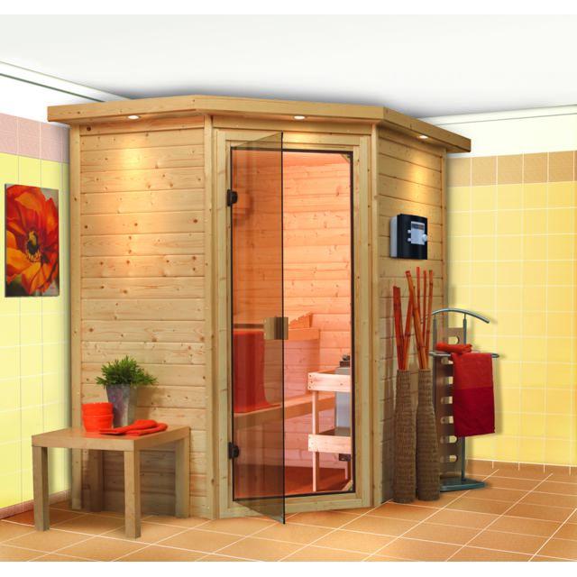 karibu sauna traditionnel cilja 38 mm plug and play 196 x 144 x 198 cm pas cher achat. Black Bedroom Furniture Sets. Home Design Ideas