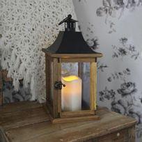 Best Season - Lantern - Lanterne d'extérieur Bois Bougie Led H35cm - Luminaire d'extérieur designé par