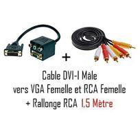Cabling - Cable adaptateur Dvi-i vers Vga + 3 Rca + Cable Audio Vidéo Rca M/M - 1.5M