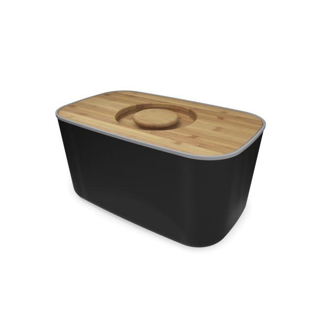 JOSEPH JOSEPH Boîte à pain métal avec planche bambou - Noir