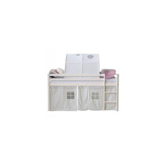 Homestyle4U Lit mezzanine 90x200 a rideaux mansardes avec tunnel etoiles blanches