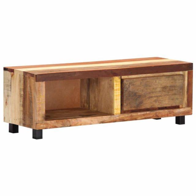 Helloshop26 Meuble télé buffet tv télévision design pratique 100 cm bois de récupération massif 2502046