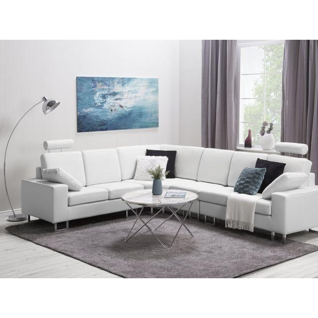 BELIANI Canapé angle à droite en cuir blanc STOCKHOLM
