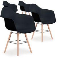 menzzo lot de 4 chaises scandinaves ralf noir - Chaise Scandinave Pas Cher