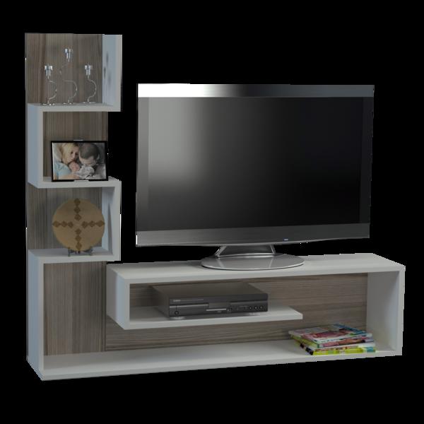 Alphamoebel Meuble Tv Marina blanc et cordoba 120,8x149,5x29,5 cm