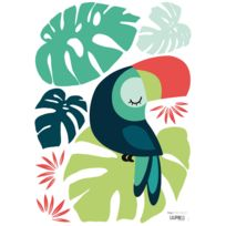 Lilipinso - Tropica - Stickers A3 - Monstera et Toucan
