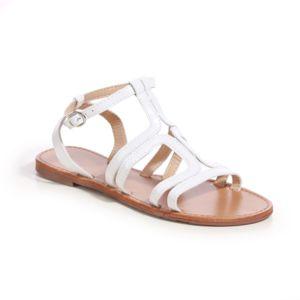 lamodeuse sandales plates blanches multi brides pas cher achat vente sandales femme. Black Bedroom Furniture Sets. Home Design Ideas