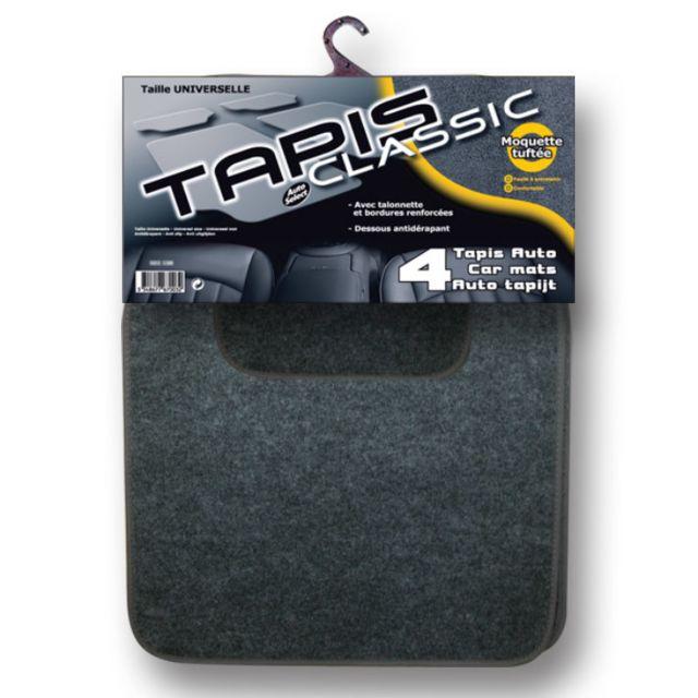 Autoselect - 4 Tapis de sol Classic gris Adaptable sur tous les véhicules