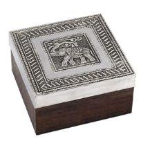 Signee - Petite boite carrée Éléphant en bois marron