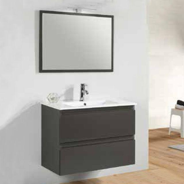 Rue Du Bain Meuble de salle de bain Gris anthracite 2 tiroirs + vasque et miroir Led - 80x46 cm - Mia