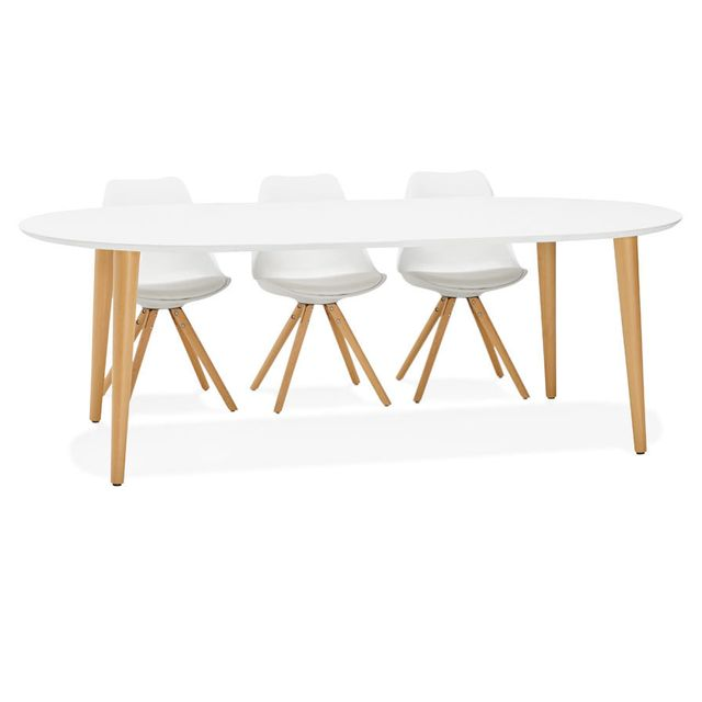 Table à Dîner Ronde Extensible Iglou Style Scandinave 120 220 X120 Cm