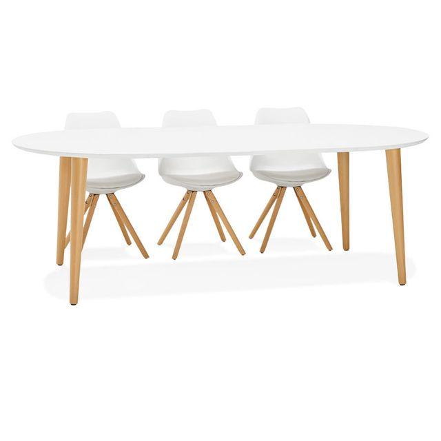 Alterego Table à dîner ronde extensible 'IGLOU' style scandinave - 120 220, x120 cm