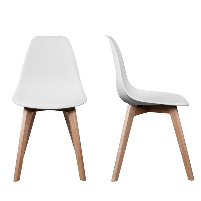 chaise bois blanc - achat chaise bois blanc pas cher - rue du commerce - Chaise Blanche Et Bois