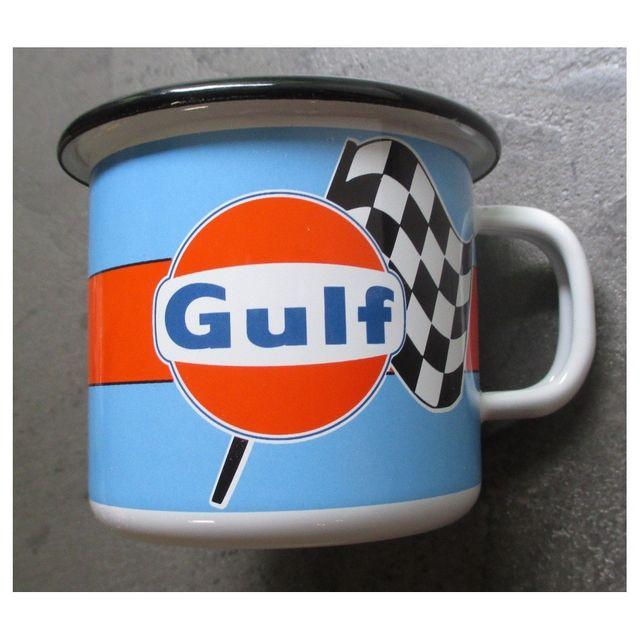 Universel Mug gulf logo damier en email tasse à café emaillée huile