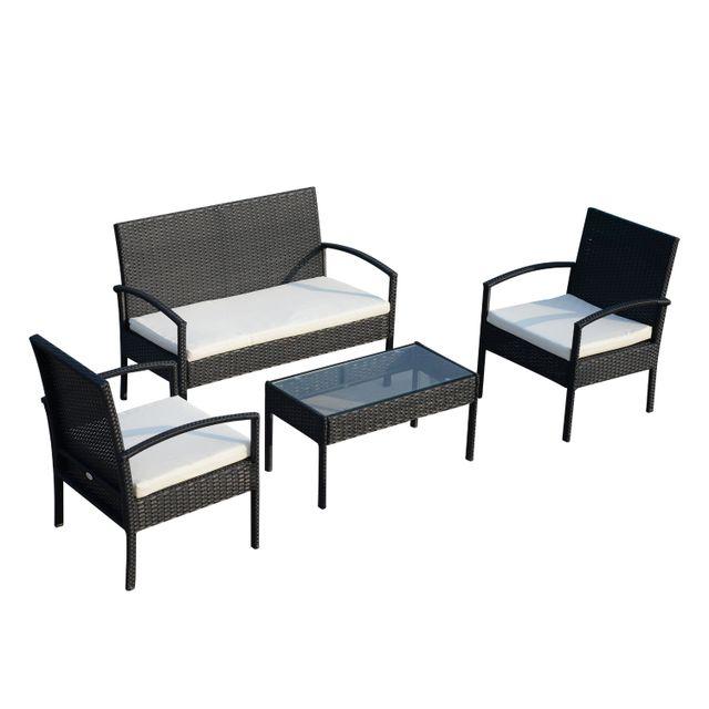 OUTSUNNY - Ensemble salon de jardin 4 places : canapé, 2 fauteuils ...