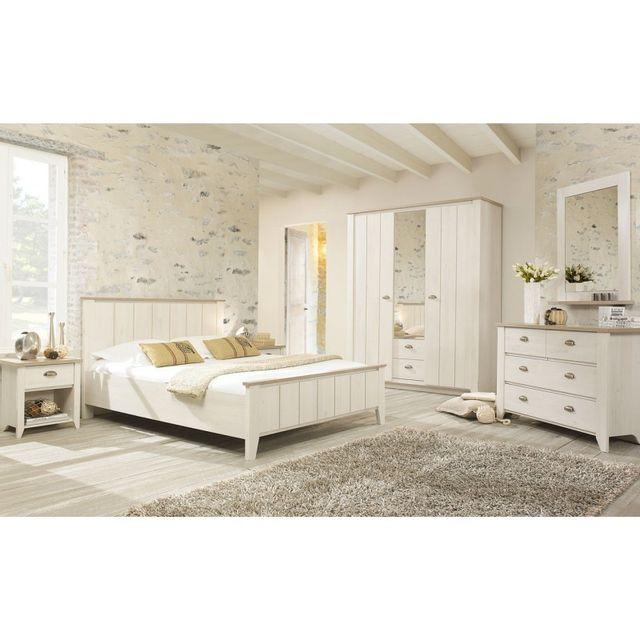 tousmesmeubles chambre adulte compl te 160 200 helene blanc cass 160cm x 200cm pas cher. Black Bedroom Furniture Sets. Home Design Ideas