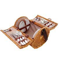 Panier de pique-nique, set pour 4 personnes, sac + compartiment frigorifique, beige