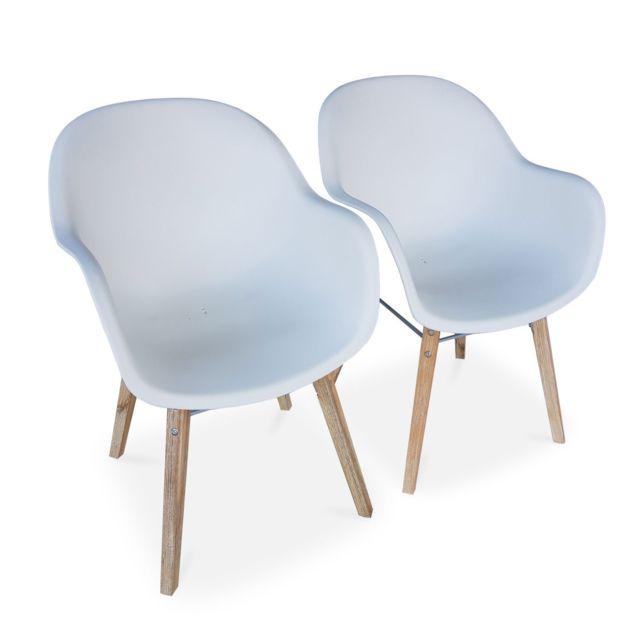 ALICE'S GARDEN Lot de 2 fauteuils scandinaves CELEBES, acacia et résine injectée, blanc, Intérieur/extérieur
