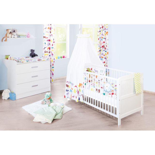 Comforium Set de 2 pièces pour chambre bébé avec lit évolutif 140x70 cm et commode à langer large en bois massif coloris blanc