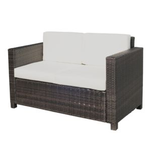 outsunny canap de jardin 2 places canap droit 4 coussins d houssables 130l x 70l x 80h cm. Black Bedroom Furniture Sets. Home Design Ideas