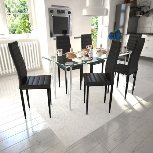 Vidaxl Lot de 6 chaises noires aux lignes fines avec une table en verre