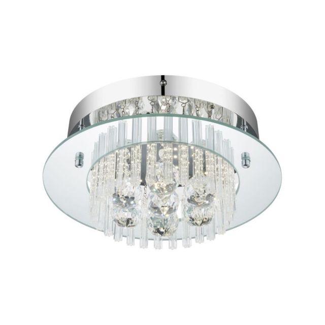 Globo Lighting - Plafonnier Led Chrome 12,5x30x30 cm Verre ...