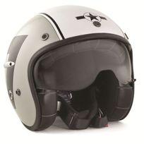 Harisson - casque jet moto scooter fibre gris-blanc brillant Tank Deco - Ca120 Xl