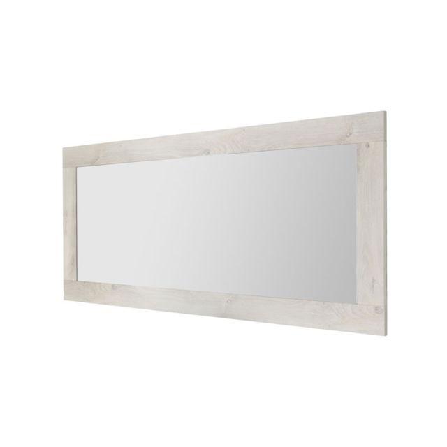 Tousmesmeubles Miroir rectangulaire Pin blanc - Lubio
