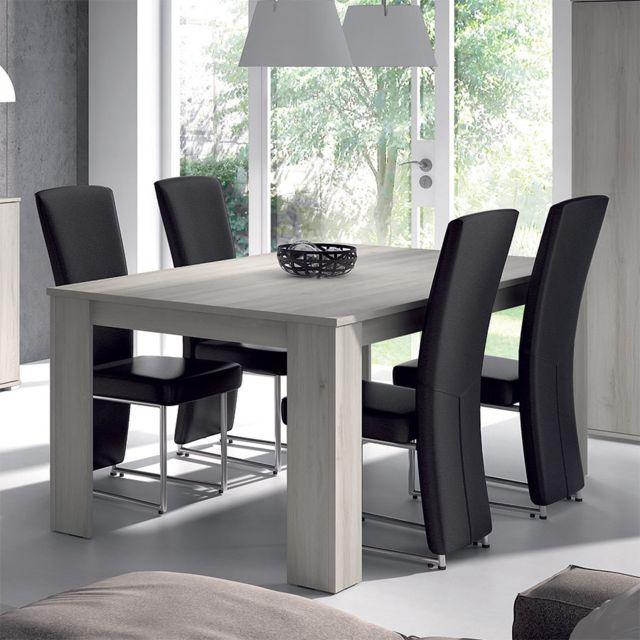 Kasalinea Table de salle à manger rectangulaire couleur chêne gris contemporaine Sophie