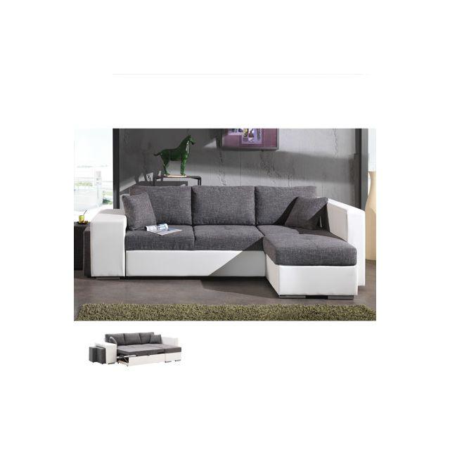 Canapé d'angle à droite convertible gris et Pvc blanc Palencia