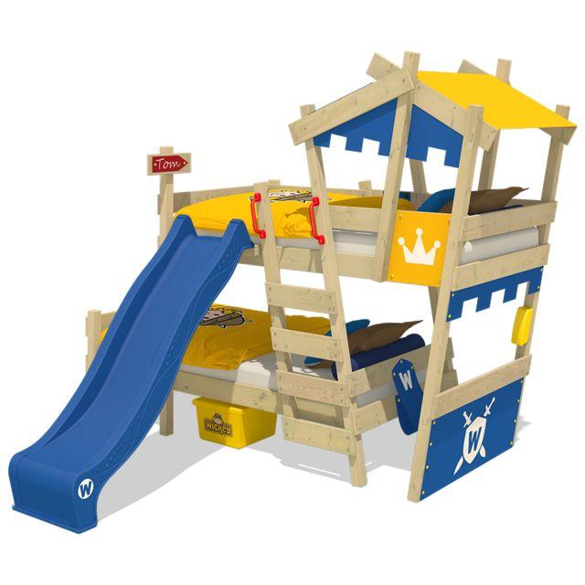WICKEY Lit mezzanine en bois CrAzY Castle avec toboggan bleu Lit superposé pour enfant couleur bleu - jaune