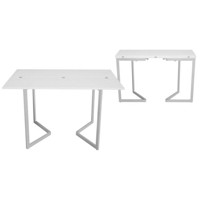 Deco in paris table console extensible blanche laque talia pas cher achat vente tables manger - Console extensible pas cher ikea ...